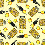 Seamless olive pattern with jar olive and canape Royalty Free Stock Photography