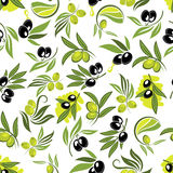Seamless olive tree branches with fruits pattern Stock Photo