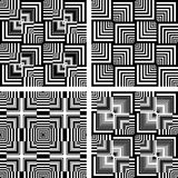 Seamless op art patterns set. Stock Photos