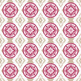 Seamless openwork pink beige lace floral pattern on white Stock Photos