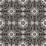 Seamless openwork white lace floral pattern on black Royalty Free Stock Photos