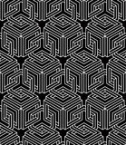 Seamless optical ornamental pattern with three-dimensional geome Royalty Free Stock Image