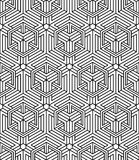 Seamless optical ornamental pattern with three-dimensional geome Stock Image