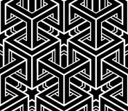 Seamless optical ornamental pattern, three-dimensional geometric Royalty Free Stock Photography