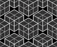 Seamless optical ornamental pattern, three-dimensional geometric Stock Images