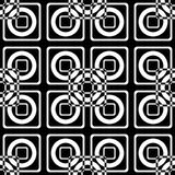 Seamless optical pattern of squares and circles on a black background. Royalty Free Stock Images