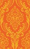 Seamless orange background. Seamless orange damask background with flowers Stock Photo