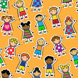 Seamless orange background with Cartoon children Royalty Free Stock Images