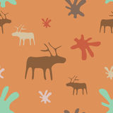Seamless orange background deer and flowers Royalty Free Stock Photo