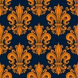 Seamless orange fleur-de-lis background pattern stock illustration