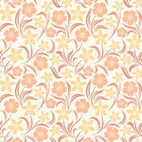 Seamless orange floral pattern. Vector illustration. Vector seamless orange pattern with flowers and leaves Stock Photography