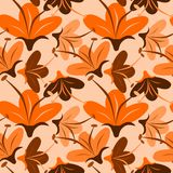 Seamless orange flower. For background Stock Photography