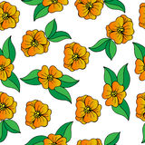 Seamless with orange flower and green leaves. On the white background. For design the fabric, greeting card, wrapping paper Royalty Free Stock Images