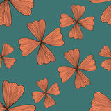 Seamless orange flower pattern. On blue background,vector Royalty Free Stock Photos