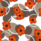 Seamless orange flowers pattern with circles background. Seamless orange flowers pattern with circles on white background Stock Photo