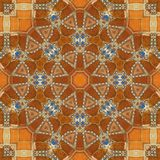 Seamless orange jewel pattern 004. Seamless orange enameled gold inlaid with blue gems and diamonds pattern - sacred geometry Stock Photo