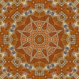 Seamless orange jewel pattern 006. Seamless orange enameled gold inlaid with blue gems and diamonds pattern - sacred geometry Stock Photo