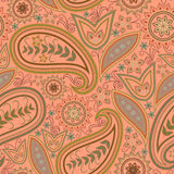 Seamless orange pattern with paisley and flowers. Vector print square. Traditional classy ornamental ethnic pattern stock illustration