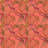 Seamless orange pattern with paisley and swirls. Vector print . Stock Images