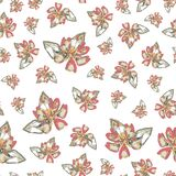 Seamless orange and pink flowers pattern with overlay on beige background