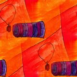 Seamless orange, purple watercolor artist wallpaper modern textu Stock Photos