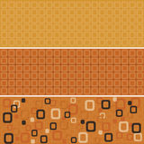 Seamless orange rounded squares. Seamless tile pattern with orange, brown and white rounded square design, orange background | Vector illustration Stock Photography