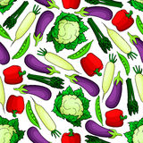 Seamless organic fresh vegetables pattern Royalty Free Stock Photography