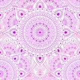 Seamless oriental arabesque floral pattern background vector. Seamless pattern, lace vector background with gradient pink and violet mandala. Gypsy, ethnic boho stock illustration