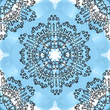 Seamless oriental Mandala Print on blue watercolor background. Royalty Free Stock Image