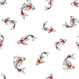 Seamless oriental pattern with Japanese carps koi. Asian background, vector illustration. Royalty Free Stock Photos