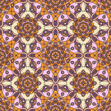 Seamless oriental pattern in shades of purple, red, orange, yellow & pink. Seamless floral pattern with motifs of Oriental decorative arts Stock Images