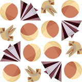 Seamless Origami. Seamless pattern of 3D origami and balls Stock Photo
