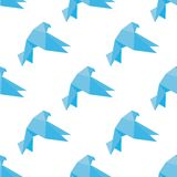 Seamless origami doves or pigeons pattern Stock Photo
