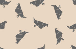 Seamless origami pattern with paper doves. Royalty Free Stock Photo