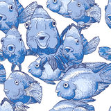 Seamless ornament with blue fish. This is file of EPS10 format Royalty Free Stock Photos