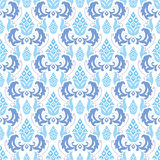 Seamless ornament blue and white. Seamless damask ornament blue flowers at white background Stock Photography