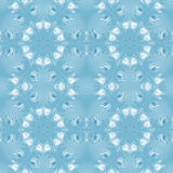 Seamless ornament blue white. Abstract geometric seamless background. Regular circles pattern with various elements in white, light gray and blue shades on light Royalty Free Stock Image
