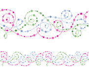 Seamless ornament with curls. Seamless floral ornament with colorful curls, circles and flowers Royalty Free Stock Photos