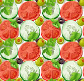 Seamless ornament delicious slices of cucumber and Royalty Free Stock Photography
