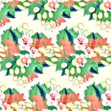 Seamless ornament with exotic leaves flowers abstract background. Fabric texture Wallpaper stock illustration