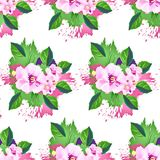 Seamless ornament with exotic leaves flowers abstract background. Fabric texture Wallpaper Stock Photos