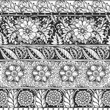 Seamless ornament from flower doodles in ethnic style Stock Photo