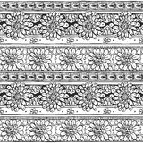 Seamless ornament from flowers doodles in ethnic style Royalty Free Stock Photo