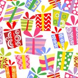 Seamless ornament with gift boxes Royalty Free Stock Photo
