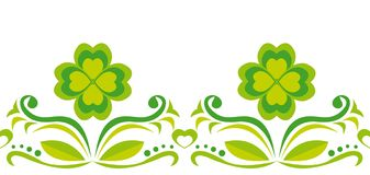 Seamless ornament with green quatrefoils Royalty Free Stock Images