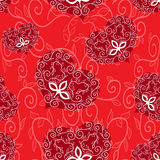 Seamless ornament heart. Seamless ornament heart pattern. Red and white. Vector background Stock Image