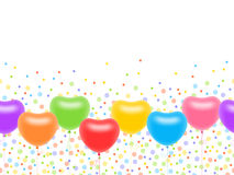 Seamless ornament with heart-shaped balloons. Seamless ornament with colourful heart-shaped balloons on threads and multicoloured circles Royalty Free Stock Photos