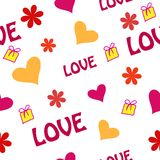 Seamless ornament with hearts and gifts Stock Images