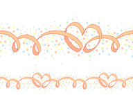 Seamless ornament with hearts. Seamless ornament with ribbon and heart-shaped curls, and colorful circles on white background Royalty Free Stock Photography