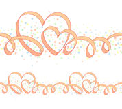 Seamless ornament with hearts. Seamless ornament with ribbon and heart-shaped curls, and colorful circles on white background Stock Photography